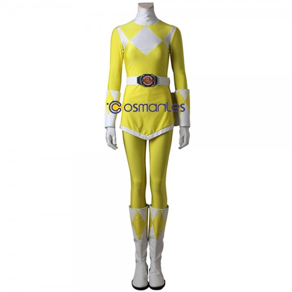 Yellow Ranger Cosplay Costumes Trini Kwan Mighty Morphin Power Rangers Suit