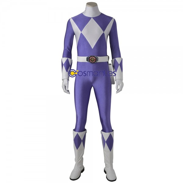 Purple Ranger Cosplay Costume Mighty Morphin Power Rangers Artificial Leather Suit