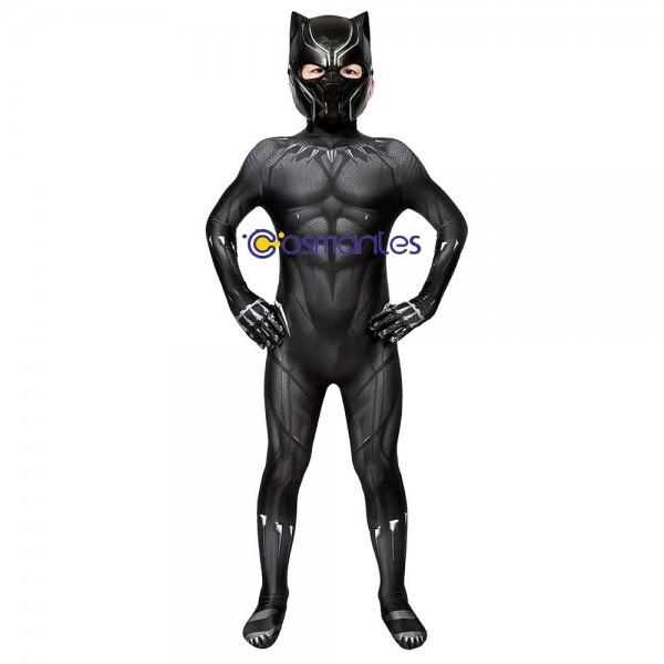 Kids Suit Black Panther Cosplay Suit Black Panther Spandex Printed Cosplay Costume