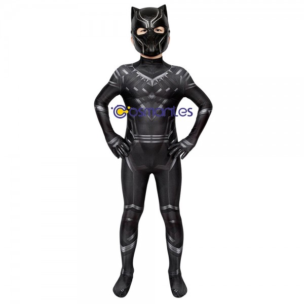 Kids Suit Black Panther Cosplay Suit Civil War Edition Spandex Printed Cosplay Costume