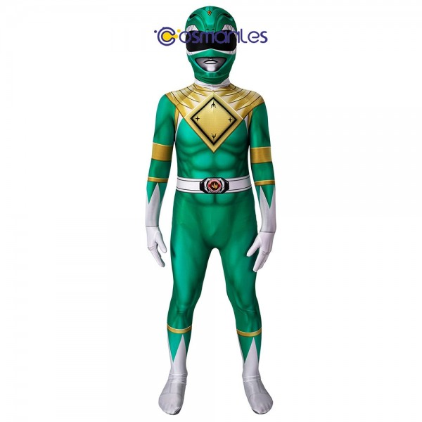Kids Green Ranger Spandex Printed Cosplay Suit Power Rangers Cosplay Costume