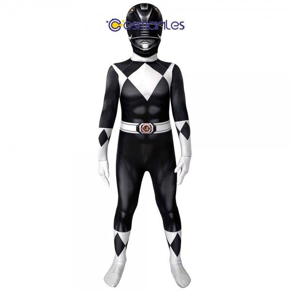 Kids Black Ranger Spandex Printed Cosplay Suit Power Rangers Cosplay Costume