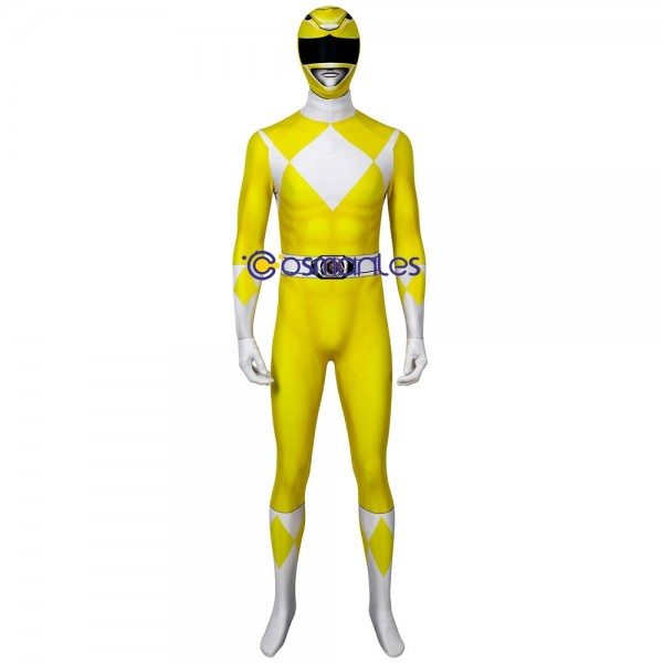 Yellow Ranger Spandex Cosplay Costume Mighty Morphin Power Rangers Cosplay Suit