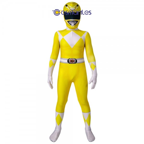 Kids Yellow Ranger Spandex Printed Cosplay Suit Power Rangers Cosplay Costume