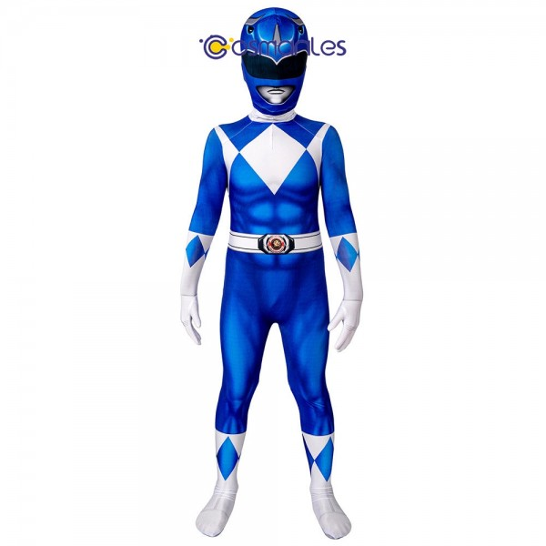 Kids Blue Ranger Spandex Printed Cosplay Suit Power Rangers Cosplay Costume