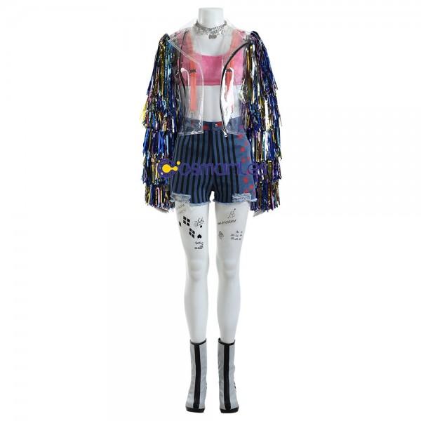 Birds of Prey Harley Quinn Cosplay Costume Rainbow TPU Suit