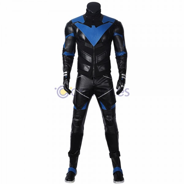 Gotham Knights Cosplay Costumes Nightwing Leather Cosplay Suit